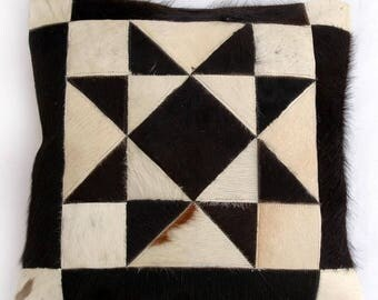 Natural Cowhide Luxurious Patchwork Hairon Cushion/pillow Cover (15''x 15'')a128