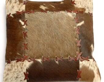 Natural Cowhide Luxurious Patchwork Hairon Cushion/pillow Cover (15''x 15'')a181