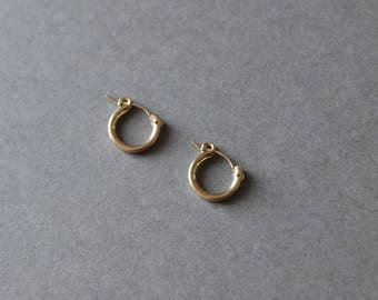 "Gold Filled Tiny Circle Hoop Earrings 13mm - ""Gold Filled"""