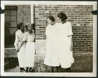 Vintage Photo of Girlfriends Dressed in White Peeking Around Corner 1910's, Original Found Photo, Vernacular Photography