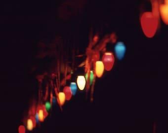 Vintage Kodachrome Photo Slide Large Christmas Lights at Night Icicles 1980's, Original Found Photo, Vernacular Photography