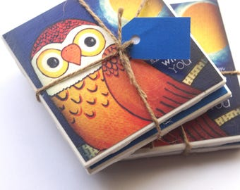 Blue Moon owl Coaster Set with original art by Cortney Rector Designs