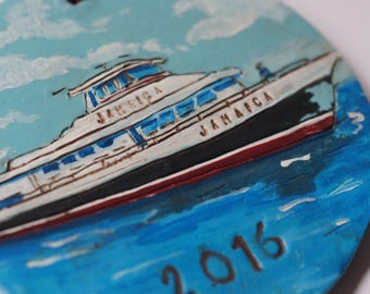 Custom Personalize Boat Ornament made from Polymer Clay Coastal Nautical Gift