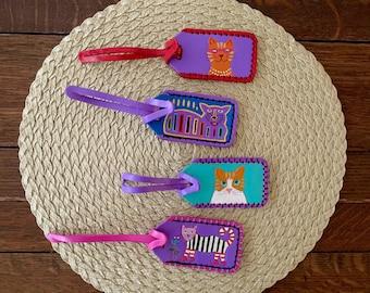 LUGGAGE TAG CAT, Cat lover gift, cat stuff, coworker gift, cat luggage tag, whimsical cat, cat theme gift, cat item, cat stocking stuffer