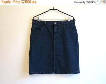 ON SALE Navy Blue Skirt High Waisted Jean Skirt Denim Skirt Denim Pencil Skirt Medium Size Stretchy Jeans Skirt