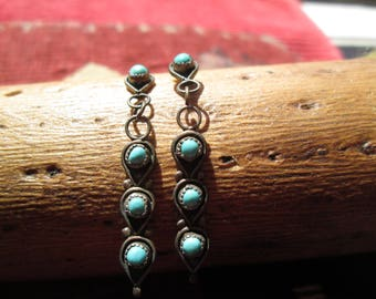Petit Point Turquoise and Sterling Dangle Earrings
