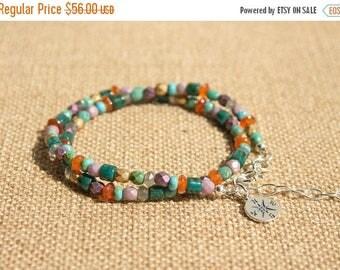 Close Out Sale Sterling Silver Gemstones Compass Charm Bracelet/Choker