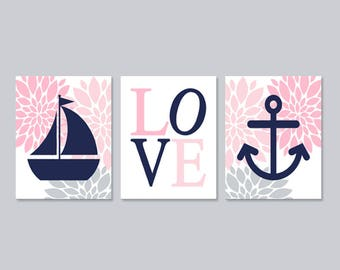 Pink Gray Navy Nautical Nursery Decor Baby Girl Wall Art Floral Nursery Anchor Sailboat Set of 3 Prints Or Canvas Girl Bedroom Decor Picture