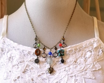Vintage inspired Czech glass necklace Multi dangling chain Charms necklace Shabby chic jewelry Mother's day gift