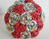 Paper Flower Wedding Origami Rose Bouquet Super Hero Marvel comic book theme red flowers