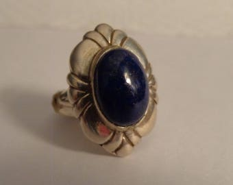 Sterling Silver and Lapis Ring - size 8