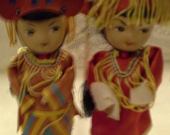 Vtg Painted Chinese Dolls/60's