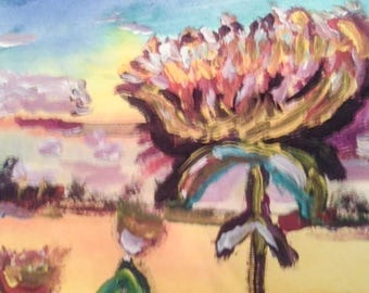 Mum's the Word, A Vivid Watercolor Original from Catherine Shapiro