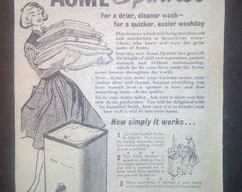 Original ACME Washing Machine Advert 1950s