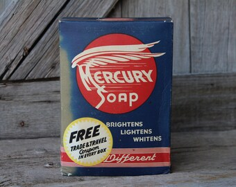 Mercury Soap Detergent Advertising Box - Laundry Room Decor