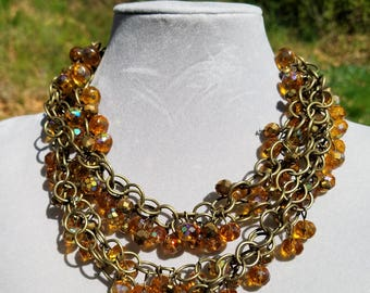 Amber, brass, multi-strand necklace, 16 inches long