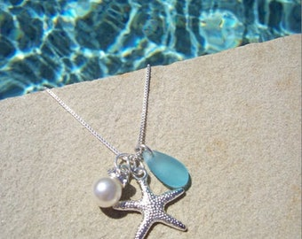 STARFISH NECKLACE - Starfish Necklaces, Starfish Jewelry, BLUE Sea Glass Necklace, Sea Glass Jewelry, Starfish Bridesmaid Jewelry Necklace