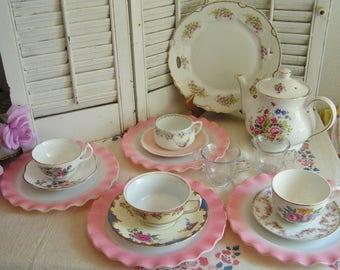Vintage Mismatched Porcelain Tea Set for 4 Instant Tea Party 16 Pieces Alice in Wonderland Tea Set Roses Luncheon Set Cottage Chic Tea Set