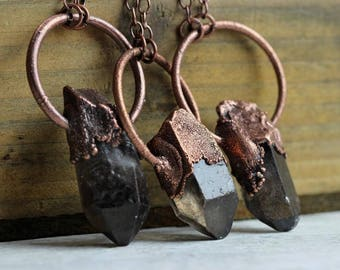 Smokey Quartz Pendant Electroformed Copper Crystal Point Necklace Stone Pendant Modern Rustic Jewelry Large Gemstone