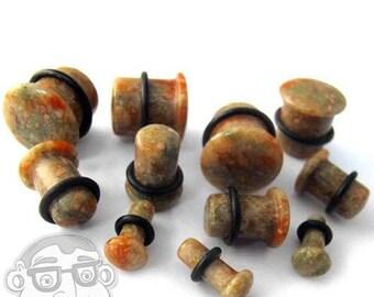 """Grade B Unakite Stone Plugs - Single Flare (6G - 5/8"""")"""
