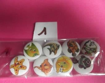 buttons plastic fancy 20mm in diameter, marine theme
