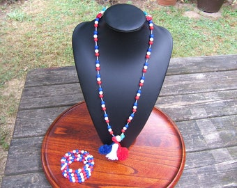 "Necklace + bracelet beads ""blue-white-red"" with clasp"