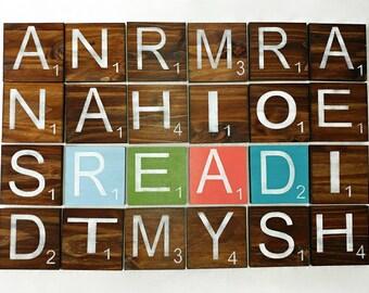 """8""""x8"""" LARGE Wooden Scrabble Tiles/Letters-"""
