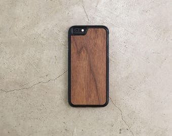 Real Wood iPhone Case Walnut iPhone 5, 5S, 6, 6S, 6 Plus, 7, 7 Plus Case with Bumper Edge