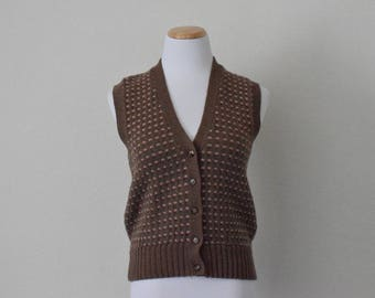 FREE usa SHIPPING women's brown wool vest/ button up vest/ v neck/ retro groovy bohemian chichipster preppy size M
