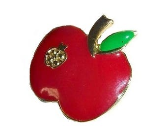 Snow White Vintage Red Apple Brooch Pin Badge Fairytale Forbidden Fruit Broach Mod 60s 70s New York NYC Jewelry Gift for Teacher Student BFF
