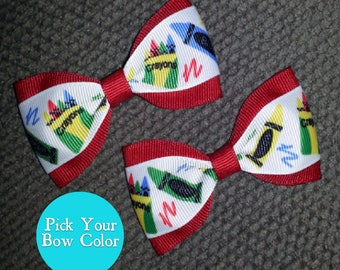 Back 2 School Handmade Pigtail Bow Set