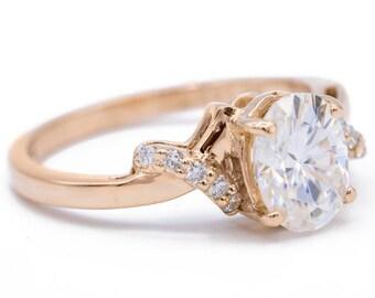 8x6mm Oval Moissanite Diamond Cross Shoulders 14K Rose Gold Antique Ring