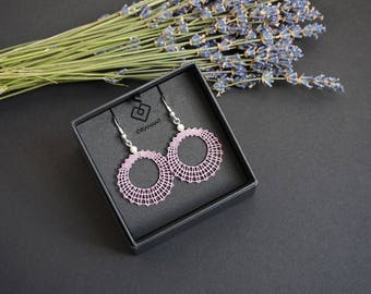 Circle S | Mini Geometric Lace Earrings | Small Round Lace Earrings | Minimalist Lace Earrings | Handmade Idrija Bobbin Lace Jewelry