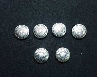Lot of 6 Vintage Native American Sterling Button Covers