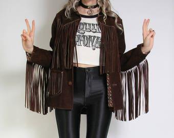 Suede fringe jacket | Etsy