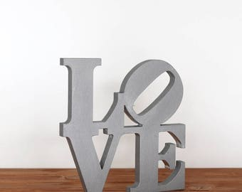 Wood sign LOVE - color Silver -  wooden Tablet as a support - sign for decorating the kitchen or living room - Love Robert Indiana