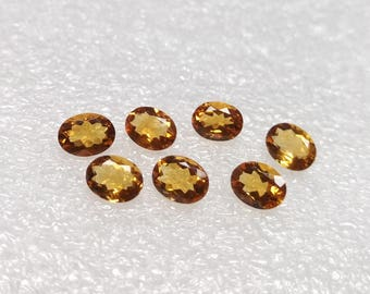 30% Discount 7 Pieces Beautiful Faceted Citrine Gemstone 8x6 mm Lot Mix Shape  Oval Shape Citrine Faceted Gemstone