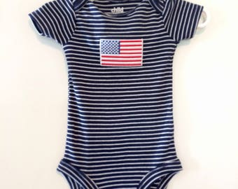 Carter's onesie 3-6mos navy and white stripes with American Flag embellishment