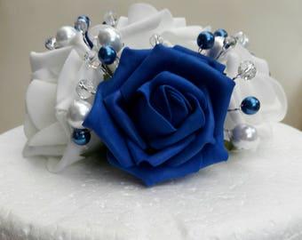 Rose cake topper. Royal blue cake topper. Wedding cake decoration. Christening cake topper. Blue and white cake topper. Wedding flowers.