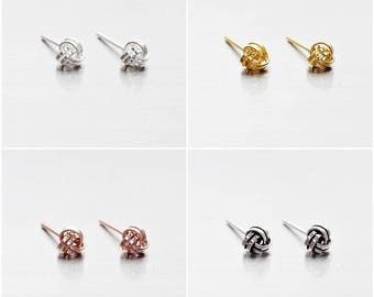 925 Sterling Silver Earrings, Knot Earrings, Gold Plated, Rose Gold Plated, Oxidized Earrings, Stud Earrings, Size 4 mm (Code : E37A)