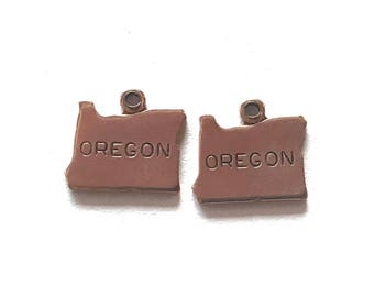 2x Rose Gold Plated Engraved Oregon State Charms - M132-OR