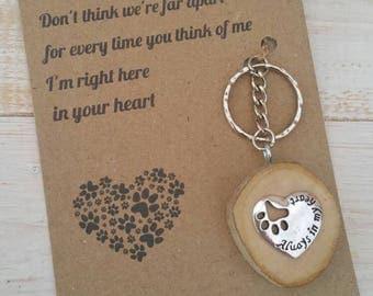 Pet Loss Poem & Keyring gift,  Unique, paw prints heart, driftwood, friend, rainbow bridge, dog, furry family, pet memory, cat, memory gift
