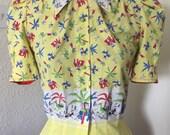 "1940s style jungle novelty border print blouse - Bust 34"" Waist 28"" UK Size 10 M"