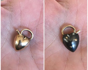 Puffy heart padlock in half gold and half oxidized silver