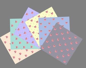 Owl Printable digital paper set of 6