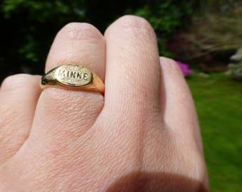 Rare Antique Memory 18k Mourning Ring, 1901 Minne Swedish Memento Mori Ring, Size 6.5, Memory, Look!