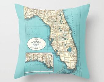 Florida Map pillow - Florida State, Eastern Seaboard, Florida Keyes, teal, cream,  travel decor, coastal decor