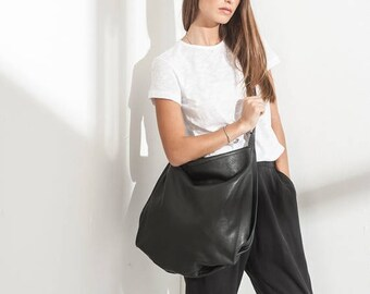 Black leather bag- Soft leather bag - Messenger bag - Crossbody bag - Big black bag - Sac Purse - Oversize Handbag - Tuly bag