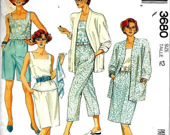 McCall's 3680    Misses Jacket, Top, Skirt, Pants and Shorts      Size 12  C1988  Uncut
