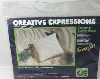 Vintage 4814 Creative Expressions Sand Dollar Candlewicking Kit 1982 Sealed
